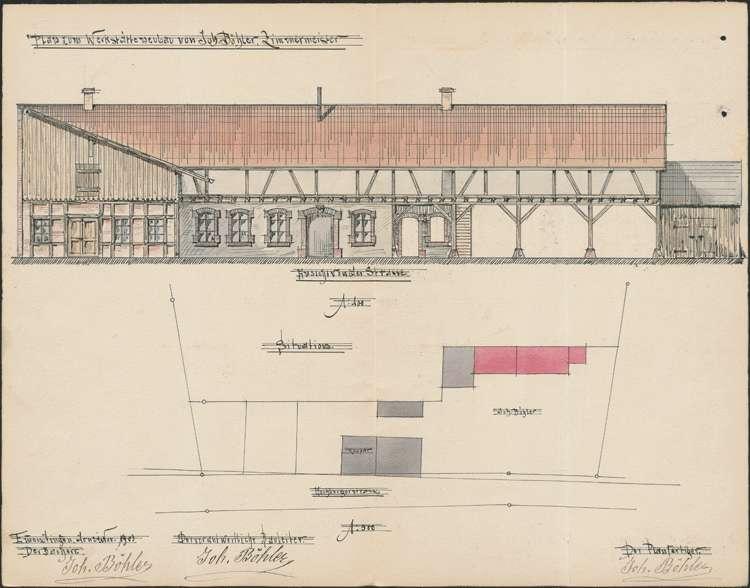 Gesuch des Zimmermanns Johann Böhler um Erlaubnis zur Aufstellung eines Gasbereitungsapparats in seinem Anwesen an der Habsburgerstraße in Emmendingen, Bild 2
