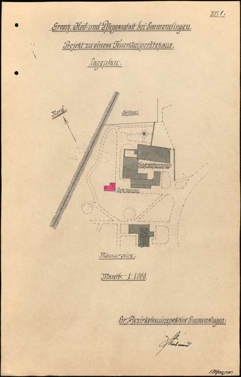 Heil- und Pflegeanstalt in Emmendingen, hier: Herstellung eines Feuerlöschgerätehauses, Bild 1