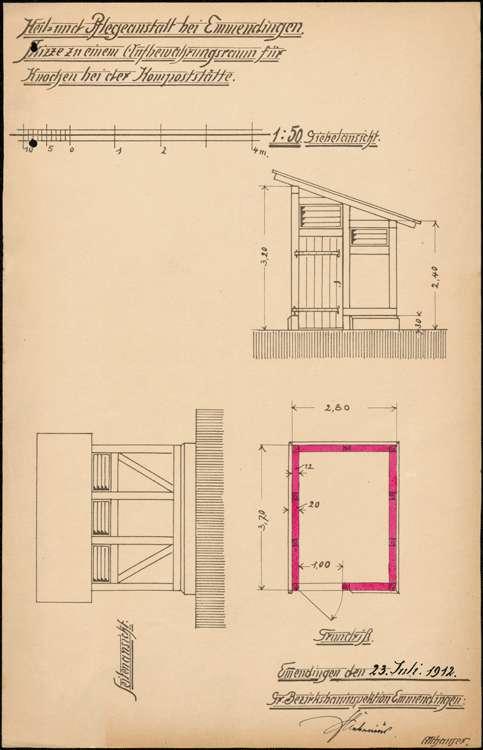 Heil- und Pflegeanstalt in Emmendingen, hier: Erbauung eines Raumes zur Aufbewahrung von abgängigen Knochen, Bild 2