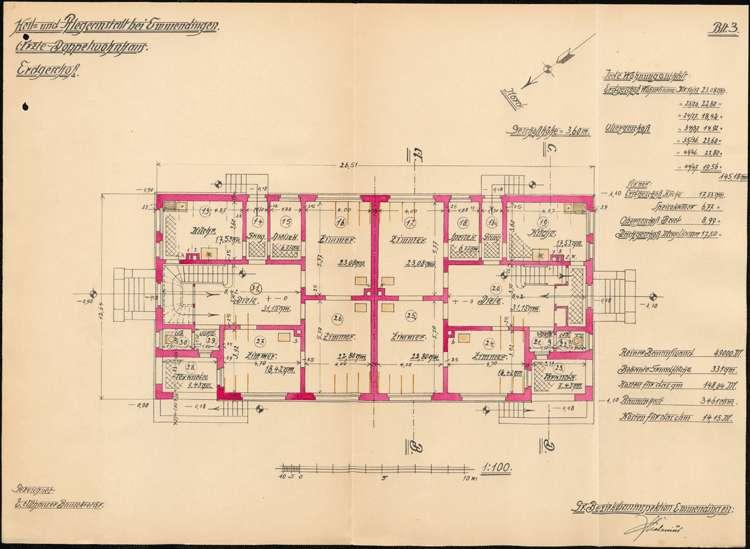 Heil- und Pflegeanstalt in Emmendingen, hier: Erstellung eines Doppelwohnhauses für Ärzte, Bild 3