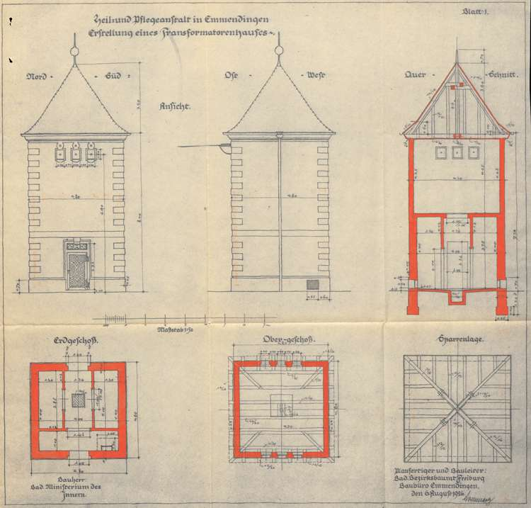 Heil- und Pflegeanstalt in Emmendingen, hier: Erbauung eines Transformatorenhauses, Bild 1