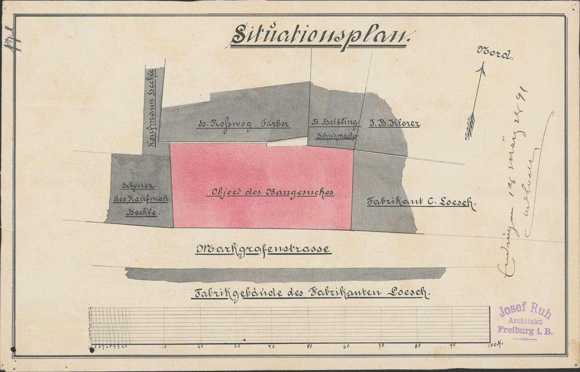 Errichtung einer Dampflohmühle durch den Fabrikanten Karl Lösch in Endingen und Vergrößerung der Fabrikanlage; Erstellung eines feststehenden Dampfkessels; Erbauung eines neuen Maschinenhauses, Bild 1