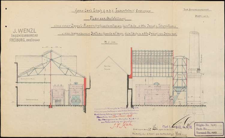 Errichtung einer Dampflohmühle durch den Fabrikanten Karl Lösch in Endingen und Vergrößerung der Fabrikanlage; Erstellung eines feststehenden Dampfkessels; Erbauung eines neuen Maschinenhauses, Bild 2