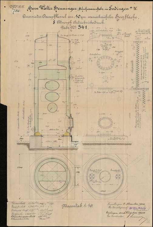 Gesuch des Fabrikanten Walter Henninger in Endingen um Genehmigung zur Errichtung eines Dampfkessels; Errichtung einer Sauggasanlage, Bild 1