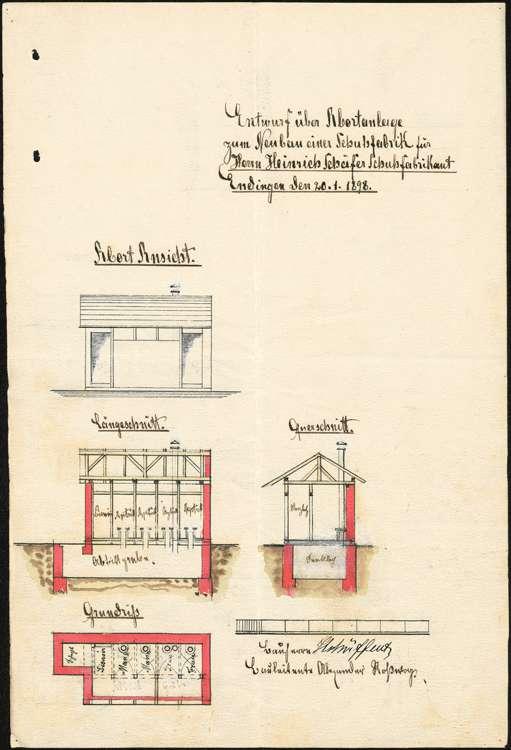 Bau und Betrieb einer Schuh- und Schäftefabrik in Endingen durch die Firma Heinrich Schäfert, Bild 1