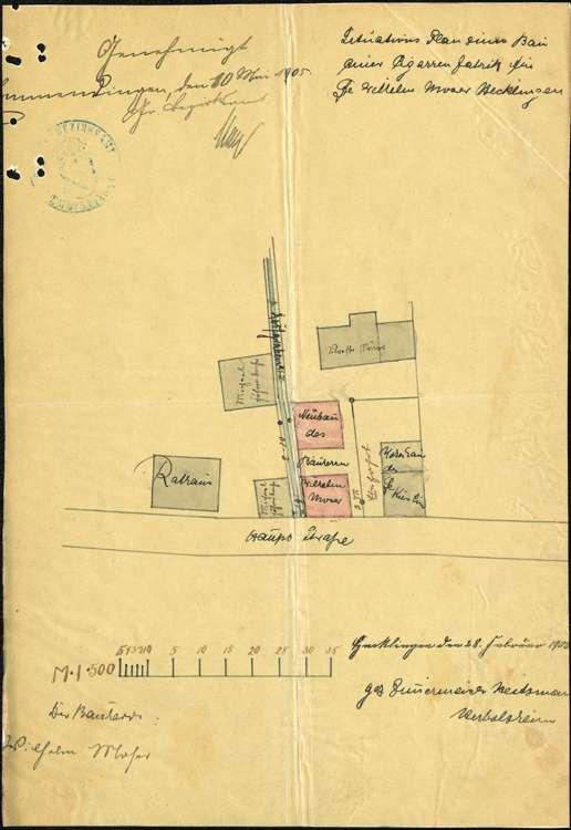 Errichtung einer Zigarrenfabrik in Hecklingen durch Wilhelm Moser, Bild 1