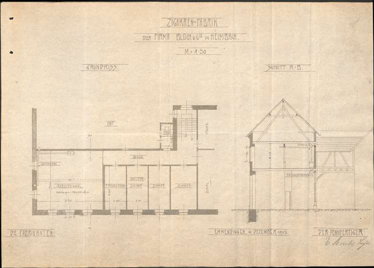 Bau und Betreib einer Zigarrenfabrik in Heimbach durch Max Bloch von Emmendingen, Bild 1