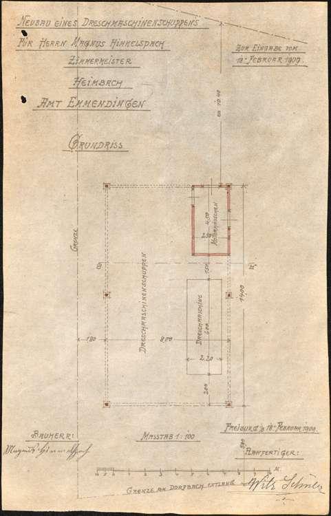 Gesuch des Zimmermanns Magnus Himmelsbach in Heimbach um Erlaubnis zum Betrieb einer motorgetriebenen Dreschmaschine und zur Errichtung eines Schuppens für letztere, Bild 2