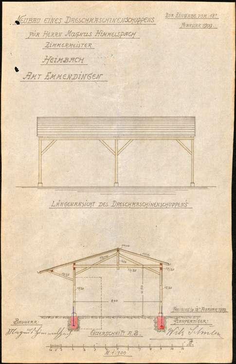 Gesuch des Zimmermanns Magnus Himmelsbach in Heimbach um Erlaubnis zum Betrieb einer motorgetriebenen Dreschmaschine und zur Errichtung eines Schuppens für letztere, Bild 3