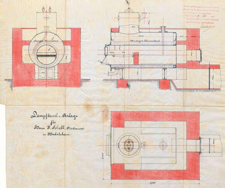 Gesuch des Bierbrauers J. Schell um Erlaubnis zur Aufstellung eines Dampfkessels, Bild 1