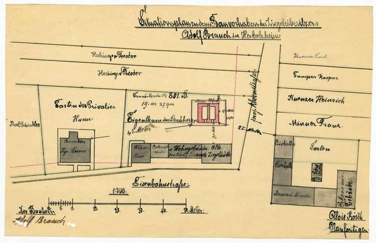 Gesuch des Ziegeleibesitzers Adolf Bauch um Genehmigung zur Errichtung eines Ziegelbrennofens, Bild 1