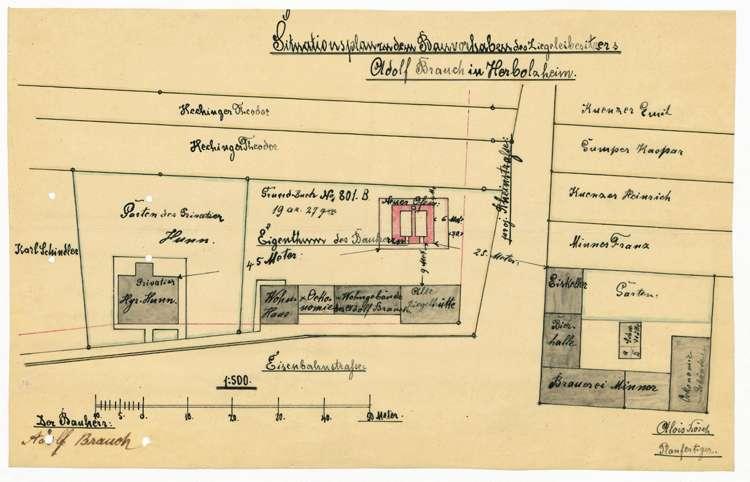Gesuch des Ziegeleibesitzers Adolf Bauch um Genehmigung zur Errichtung eines Ziegelbrennofens, Bild 2