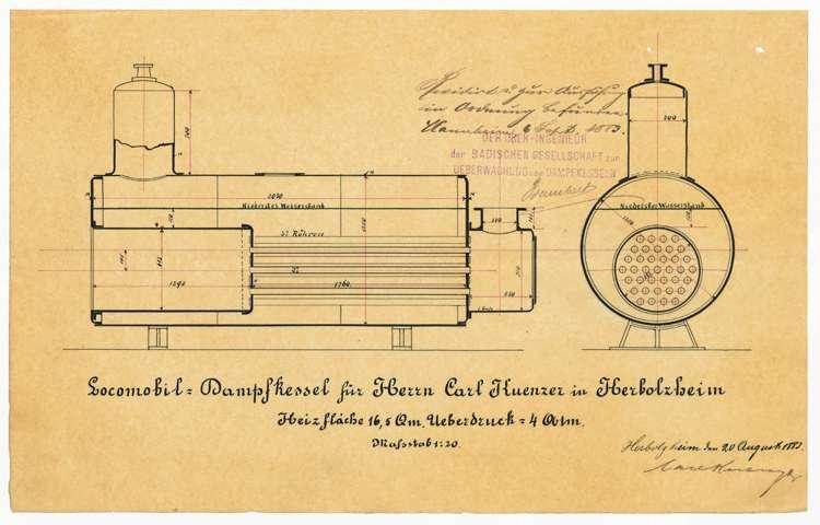 Gesuch des Fabrikanten Karl Kuenzer um Erlaubnis zur Anlage eines feststehenden Dampfkessels, Bild 2