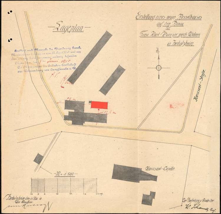 Gesuch des Fabrikanten Karl Kuenzer um Erlaubnis zur Anlage eines feststehenden Dampfkessels, Bild 1