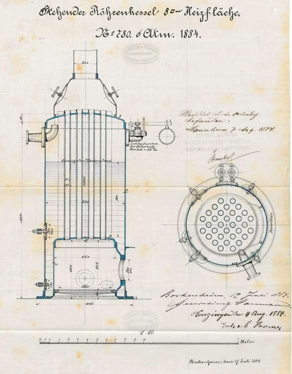 Gesuch der Stockfabrikanten E. und C. Kromer um Erlaubnis zur Aufstellung eines Dampfkessels, Bild 1