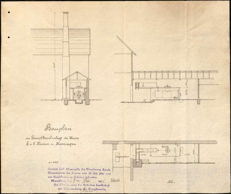 Gesuch der Stockfabrikanten E. und C. Kromer um Erlaubnis zur Aufstellung eines Dampfkessels, Bild 2