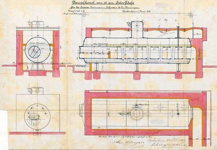 Aufstellung eines Dampfkessels und einer Dampfmaschine durch Hermann Schwarz, Bild 1