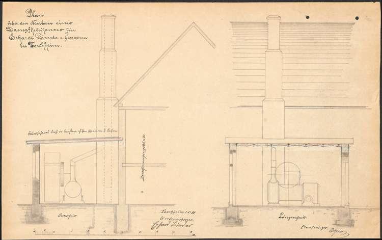 Gesuch des Zieglers Josef Brauch um Erlaubnis zur Errichtung einer Ziegelei und eines feststehenden Dampfkessels, Bild 1