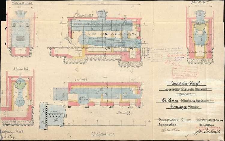 Gesuch des Theodor Kaiser um Erlaubnis zur Anlegung eines feststehenden Dampfkessels, Bild 1