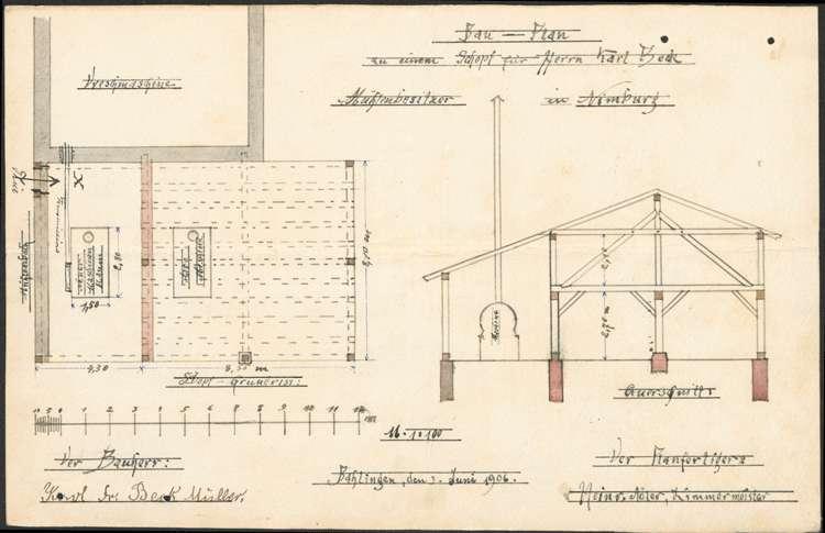 Errichtung einer Ziegelpresse, Bild 1