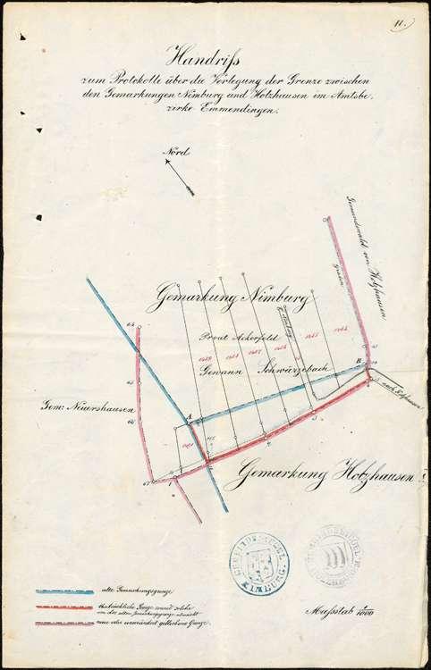 Katastervermessung; Verlegung der Grenze zwischen den Gemarkungen Nimburg, Reute und Holzhausen, Bild 1