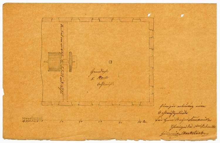 Baugesuch des Müllers Meier von Teningen wegen Erweiterung seiner Ölmühle, Bild 1