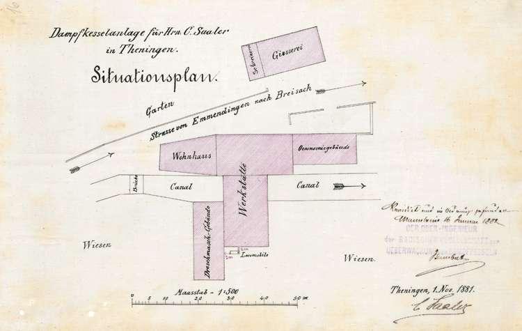 Gesuch des Mechanikers C. Saaler (später: Maschinenfabrik und Eisengießerei Saaler AG) in Teningen um Genehmigung zur Aufstellung eines Locomobil-Dampfkessels, Bild 2
