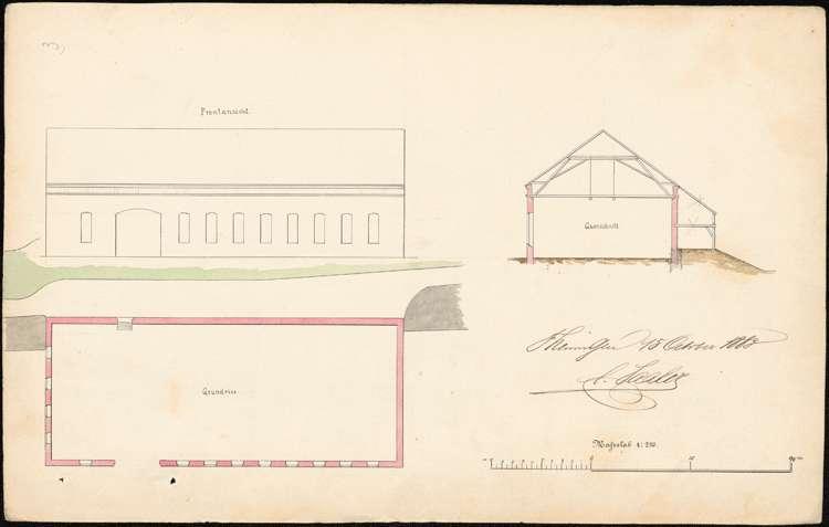 Gesuch des Mechanikers C. Saaler in Teningen um Genehmigung zum Umbau der Gießerei beim Elzflügeldamm oberhalb der Teninger Brücke, Bild 1