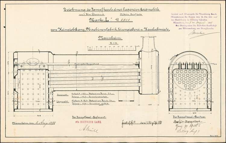 Gesuch des Martin Marquetant und Konsorten in Friedrichsfeld, Bezirksamt Schwetzingen, um Erlaubnis zur Aufstellung eines beweglichen Dampfkessels (Locomobile), in Vörstetten, Bild 1