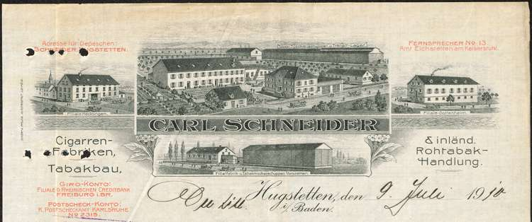 Arbeitsordnung der Firma Karl Schneider, Zigarrenfabrik in Hugstetten, Filiale Vörstetten, Bild 1