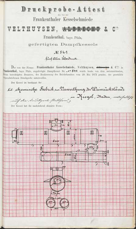 Genehmigungsurkunde zur Aufstellung eines Dampfkessels durch die Handelsgesellschaft Moritz Köhler, später Stähle & Haßler, Bild 2