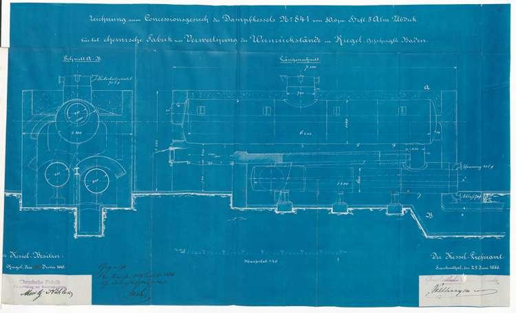 Genehmigungsurkunde zur Aufstellung eines Dampfkessels durch die Handelsgesellschaft Moritz Köhler, später Stähle & Haßler, Bild 3