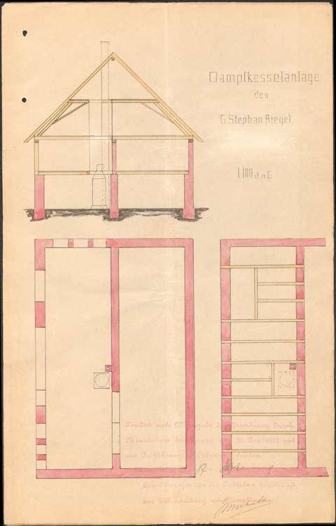 Aufstellung eines Dampfkessels durch den Holzhändler Georg Stephan, Bild 1