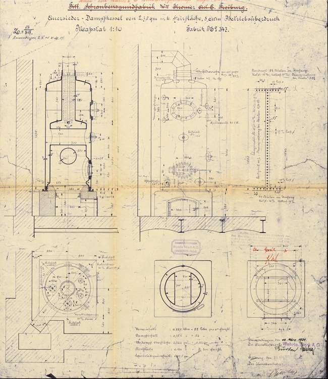 Aufstellung eines Dampfkessels durch die Firma Heida-Werke Müller & Co., Bild 1