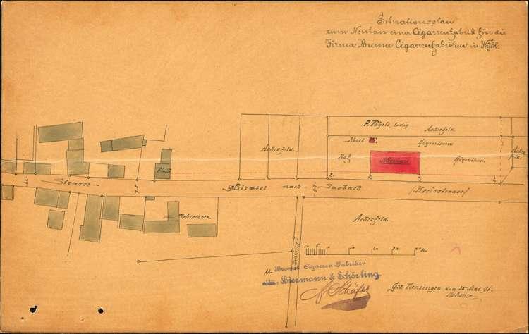 Bau und Betrieb einer Zigarrenfabrik in Wyhl durch die Firma Bremer Zigarrenfabrik, vormals Biermann & Schörlin, Bild 1