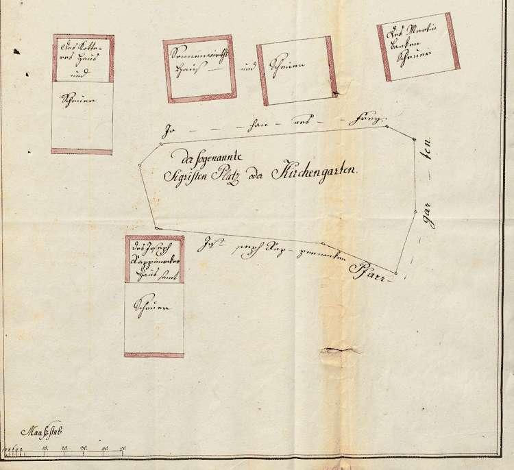 Überlassung des Sigristenplatzes resp. -gartens zur Erbauung einer neuen Scheuer des Lehrers Joseph Reber, Bild 1