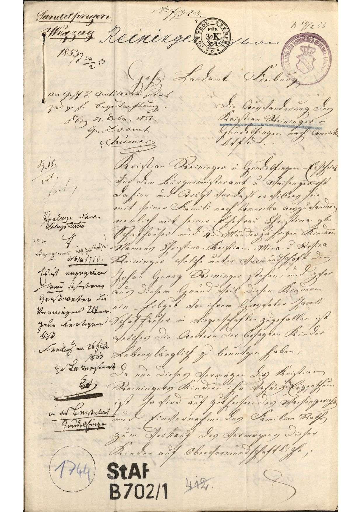 Auswanderung des Christian Reininger von Gundelfingen mit seiner Familie nach Amerika, Bild 1