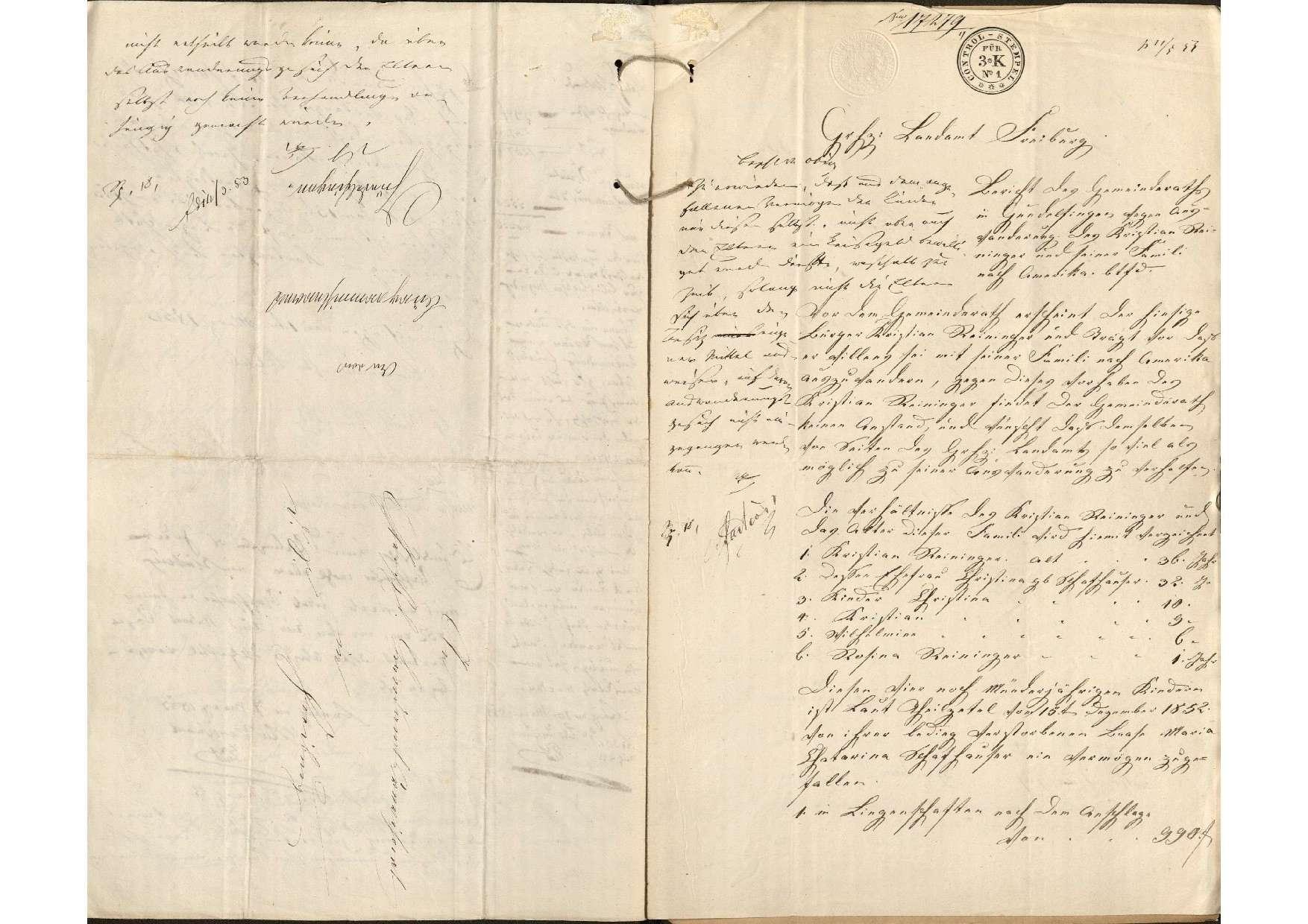 Auswanderung des Christian Reininger von Gundelfingen mit seiner Familie nach Amerika, Bild 3