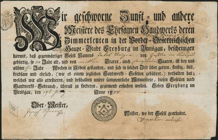 Ausmittelung des Heimatrechts für Joseph Steyert und den Zimmergesellen Jacob Steyert (oder Steigert, oder Steiert), angeblich aus Zastler, Bild 1