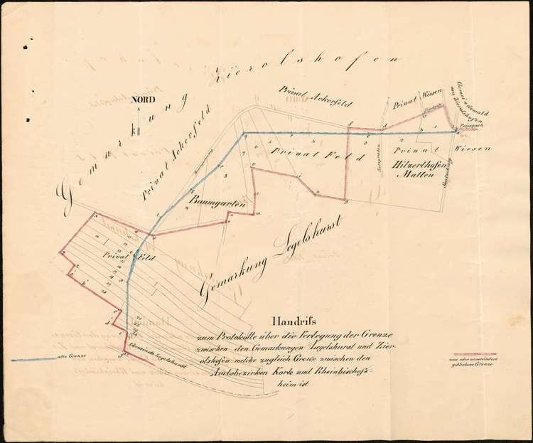 Verlegung der Grenze zwischen der Gemarkung Zierolshofen und den Gemarkungen Legelshurst und Linx, Bild 1