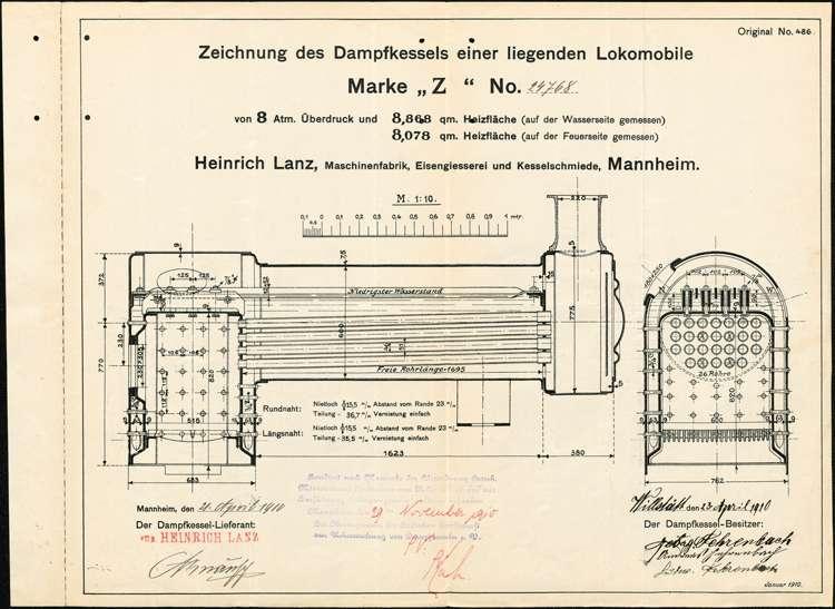 Aufstellung eines Dampfkessels im Sägewerk der Brüder Fehrenbach in Willstätt, Bild 1