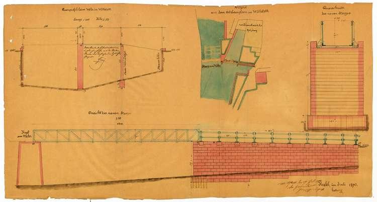 Bau eines Steges über den Mühlkanal bei der Kunstmühle des Friedrich Krauß in Willstätt, Bild 1