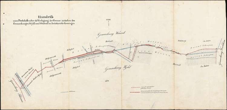 Vermessung der Gemarkung Wyhl, 4 Protokolle über die Verlegung der Gemarkungsgrenze zu Sasbach, Weisweil, Königschaffhausen und Forchheim, Bild 2