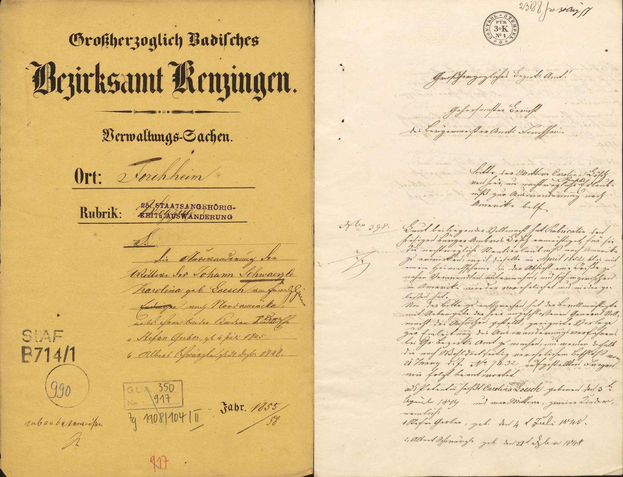 Auswanderung: Karolina Schwärzle, Forchheim, nach Nordamerika Stefan Gerber, Forchheim Albert Schwärzle, Forchheim, Bild 1