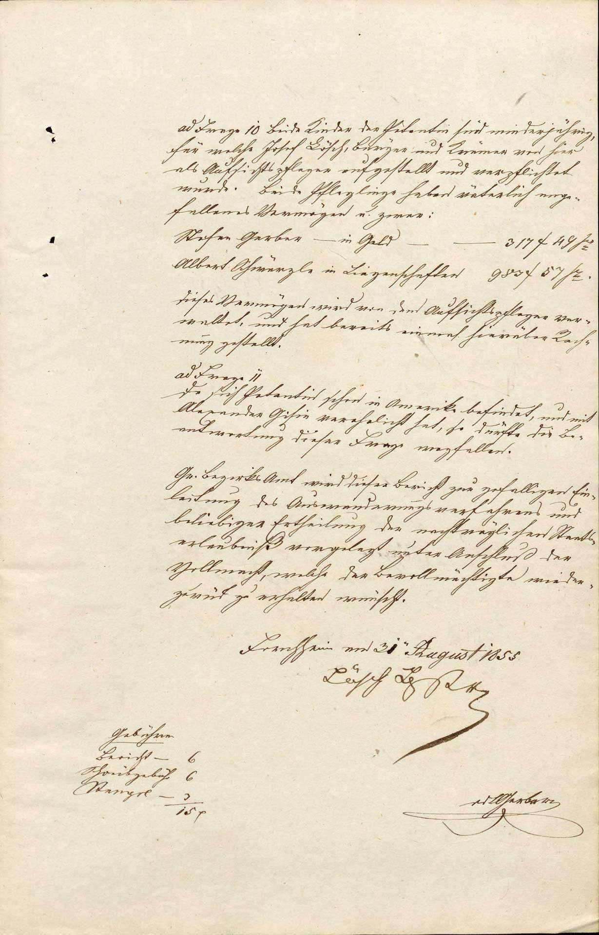 Auswanderung: Karolina Schwärzle, Forchheim, nach Nordamerika Stefan Gerber, Forchheim Albert Schwärzle, Forchheim, Bild 3