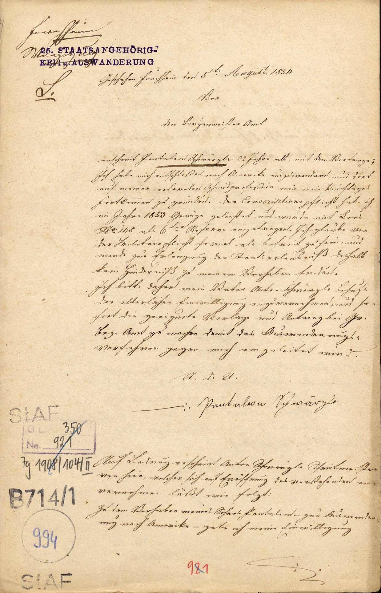 Auswanderung: Pantaleon Schwärzle, Forchheim, nach Nordamerika, Bild 1