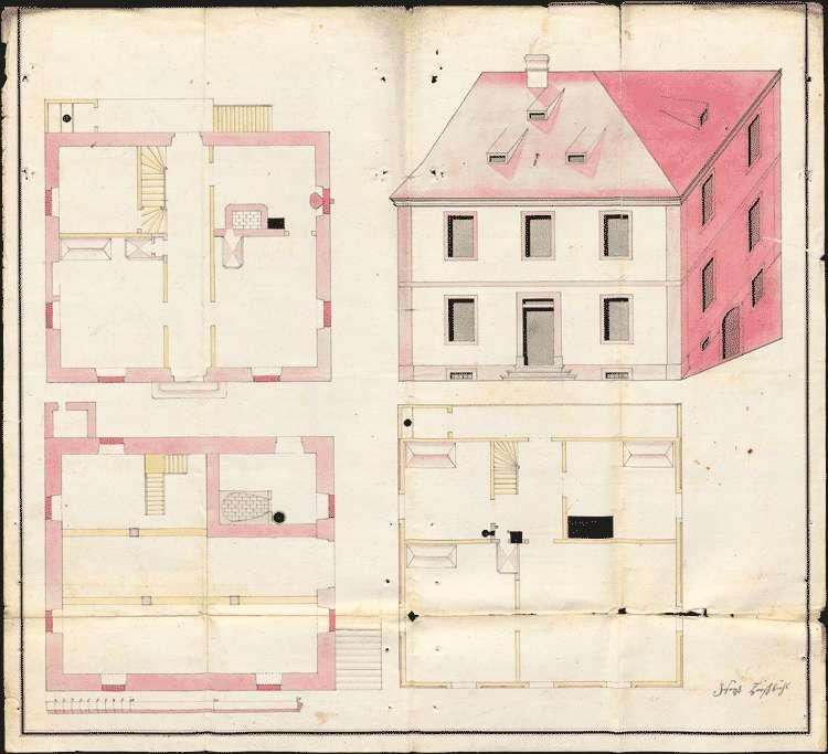 Bau und Unterhaltung des Pfarrhauses mit Nebengebäuden zu Bombach, Bild 1