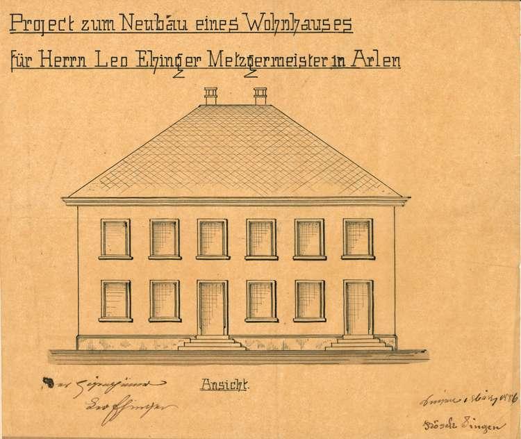 Erstellung eines Wohnhauses mit einbegauter Schlächterei durch den Metzger Leo Ehinger von Arlen, Bild 1