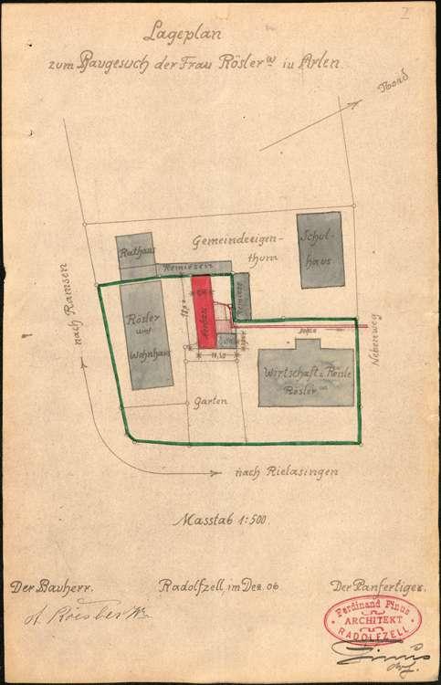 Gesuch der Witwe Rösler in Arlen, Gasthaus Zum Rößle, um Erlaubnis zur Errichtung einer Schlachtstätte, Bild 1