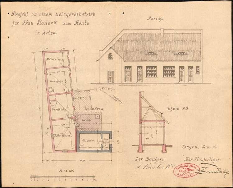 Gesuch der Witwe Rösler in Arlen, Gasthaus Zum Rößle, um Erlaubnis zur Errichtung einer Schlachtstätte, Bild 2